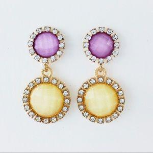 💛💖Rhinestone Gold Double Drop Dangle Earrings